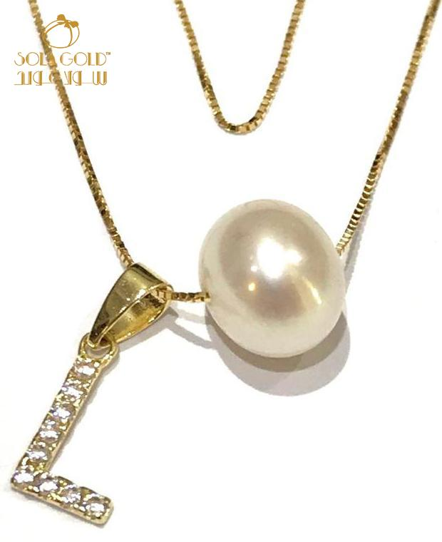 REAL GOLD FRESHWATER WHITE PEARL LETTER L NECKLACE 18K