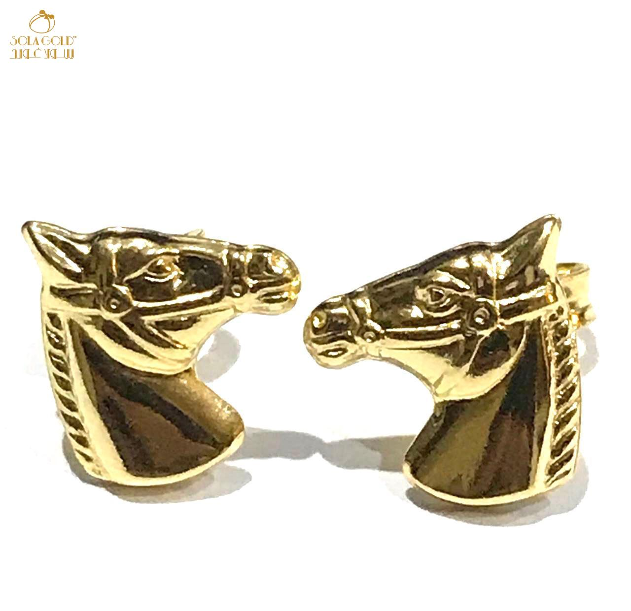 REAL GOLD HORSE STUD EARRING 18K